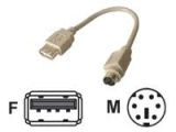 Adaptateur USB A femelle/MiniDin6 (PS/2) mâle