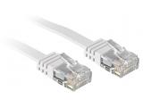 Câble réseau plat Patch cat.6 U/UTP, cuivre, blanc, 10m