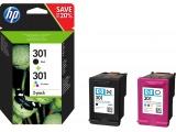 HP 301 pack de 2 cartouches d'encre noir/trois couleurs authentiques