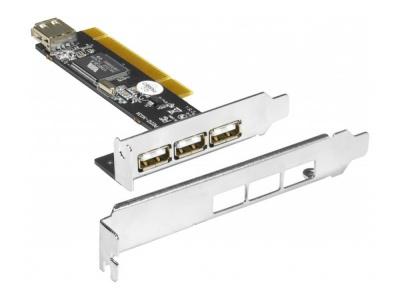 Carte PCI USB2.0 Low Profile 3 ports +1 interne