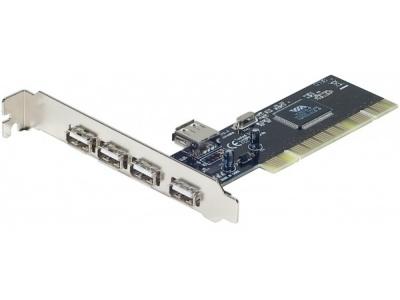 Carte PCI port USB supplémentaire - 4+1ports USB 2.0