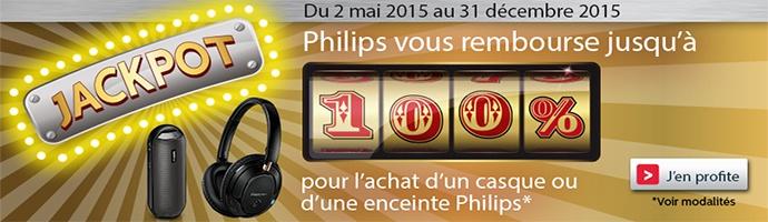 Jackpot ! Philips vous rembourse jusqu'à 100% sur une sélection de Casques et d'Enceintes !