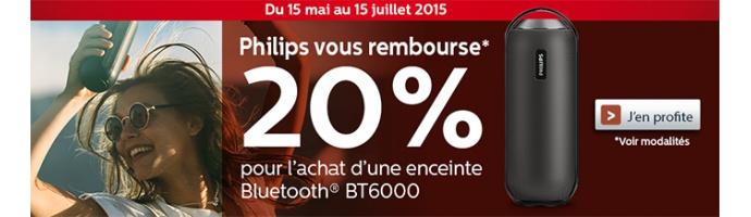 Philips vous rembourse 20% pour l'achat d'une enceinte Bluetooth BT6000
