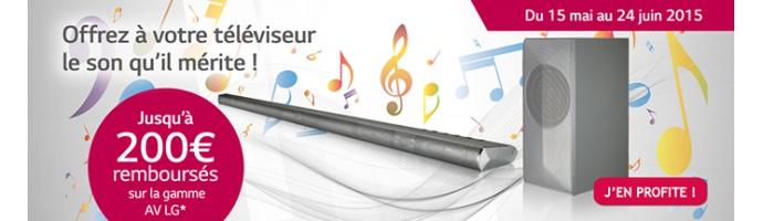 Jusqu'à 200€ remboursés sur l'achat d'un produit de la gamme Audio-Vidéo LG